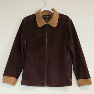 COACO BROWN/TAN FAUX SUEDE ZIP JACKET SZ M